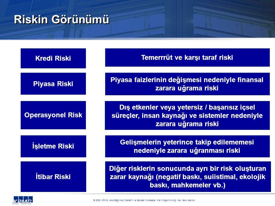 Riskin Görünümü Kredi Riski Temerrrüt ve karşı taraf riski