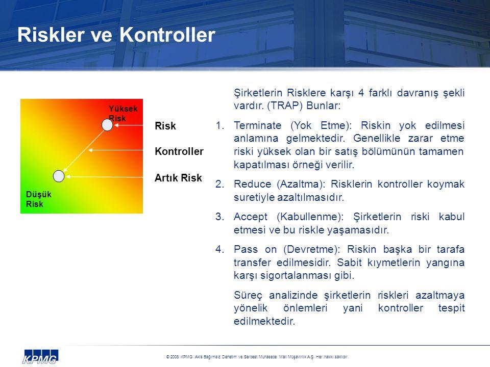 Riskler ve Kontroller Şirketlerin Risklere karşı 4 farklı davranış şekli vardır. (TRAP) Bunlar: