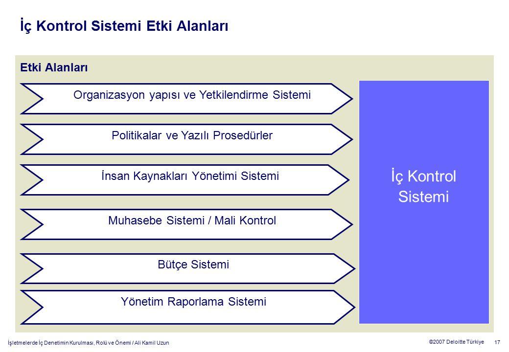 İç Kontrol Sistemi Etki Alanları
