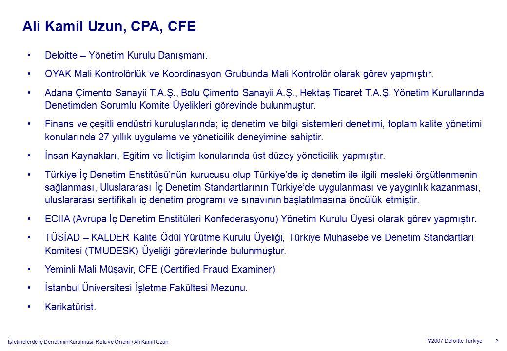 Ali Kamil Uzun, CPA, CFE Deloitte – Yönetim Kurulu Danışmanı.