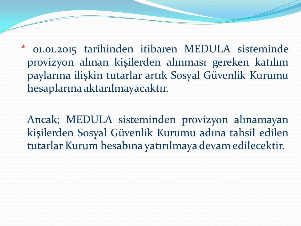 * 01.01.2015 tarihinden itibaren MEDULA sisteminde provizyon alınan kişilerden alınması gereken katılım paylarına ilişkin tutarlar artık Sosyal Güvenlik Kurumu hesaplarına aktarılmayacaktır.
