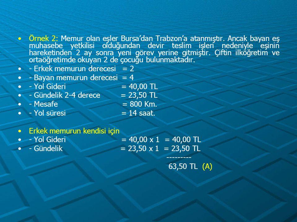 Örnek 2: Memur olan eşler Bursa'dan Trabzon'a atanmıştır