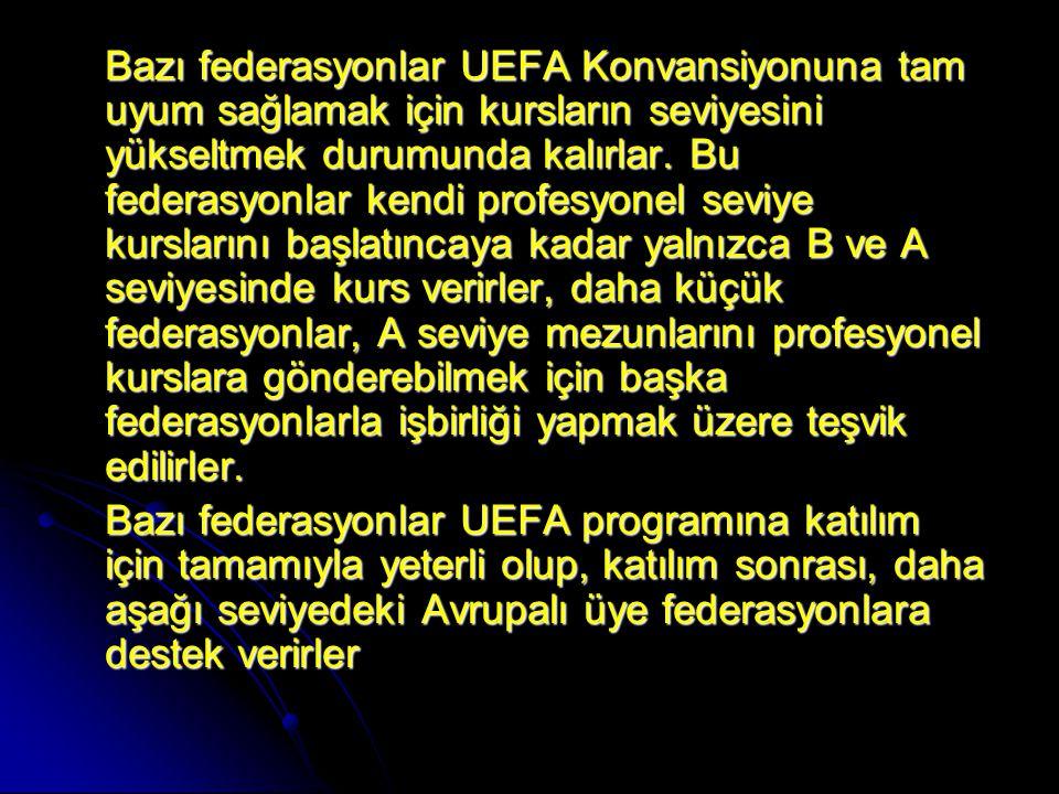 Bazı federasyonlar UEFA Konvansiyonuna tam uyum sağlamak için kursların seviyesini yükseltmek durumunda kalırlar. Bu federasyonlar kendi profesyonel seviye kurslarını başlatıncaya kadar yalnızca B ve A seviyesinde kurs verirler, daha küçük federasyonlar, A seviye mezunlarını profesyonel kurslara gönderebilmek için başka federasyonlarla işbirliği yapmak üzere teşvik edilirler.
