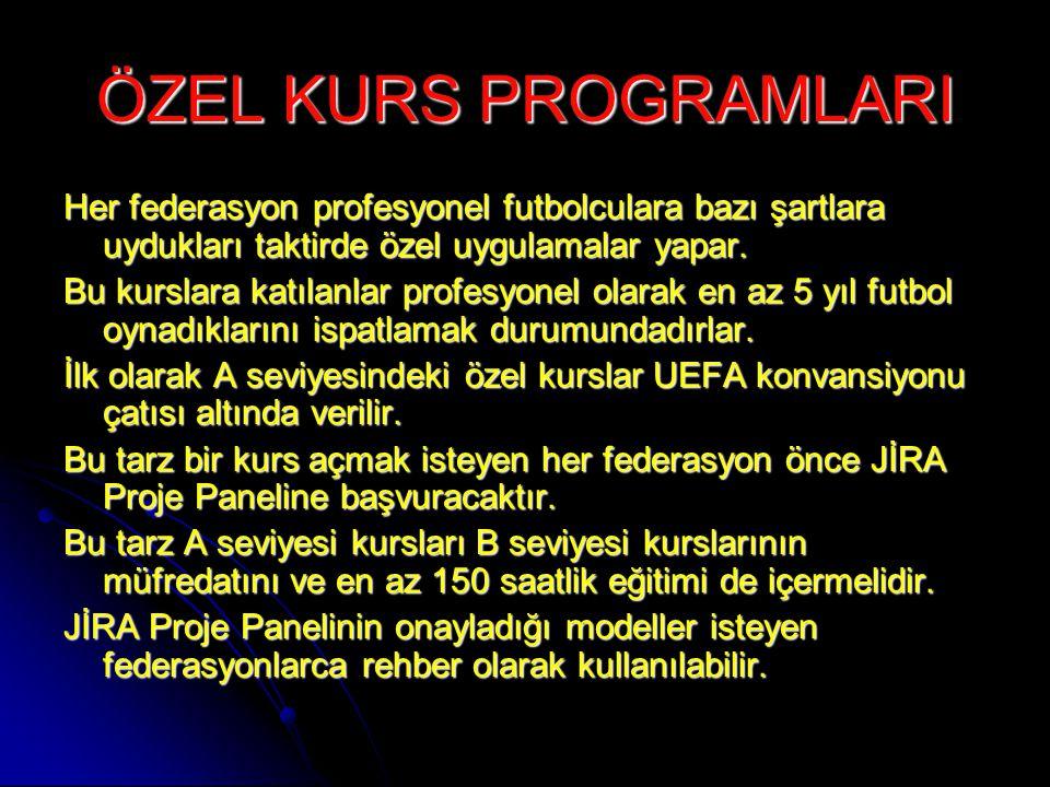 ÖZEL KURS PROGRAMLARI Her federasyon profesyonel futbolculara bazı şartlara uydukları taktirde özel uygulamalar yapar.