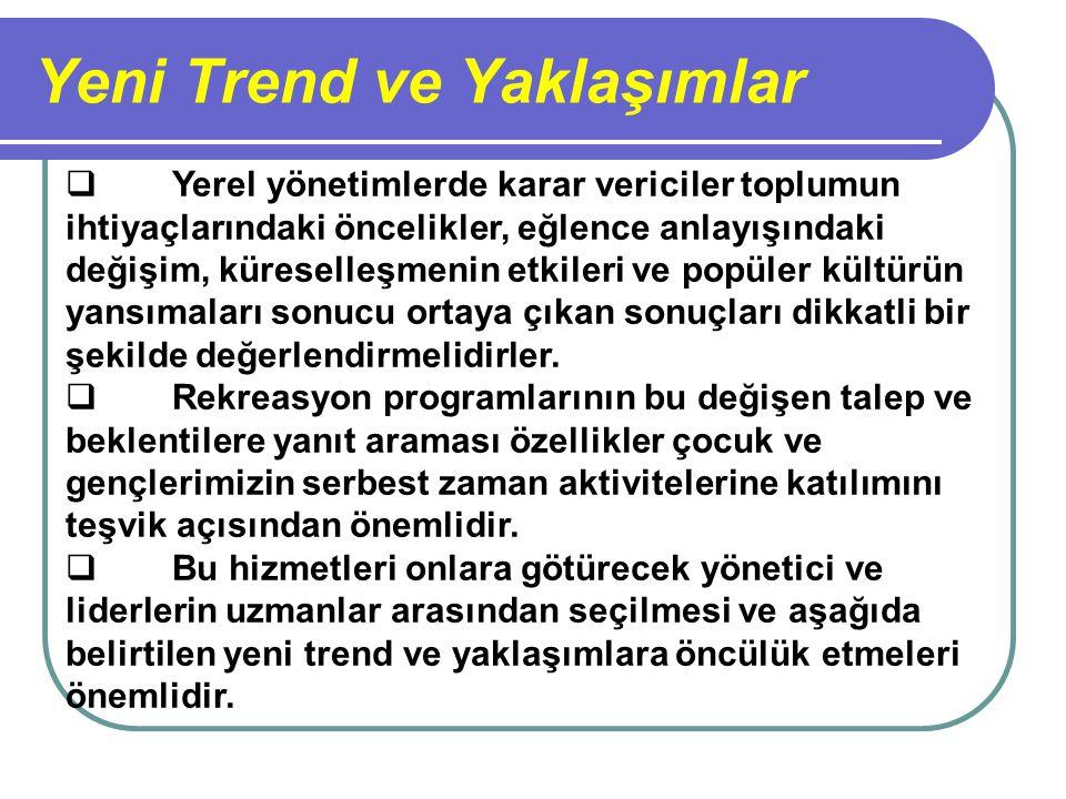 Yeni Trend ve Yaklaşımlar