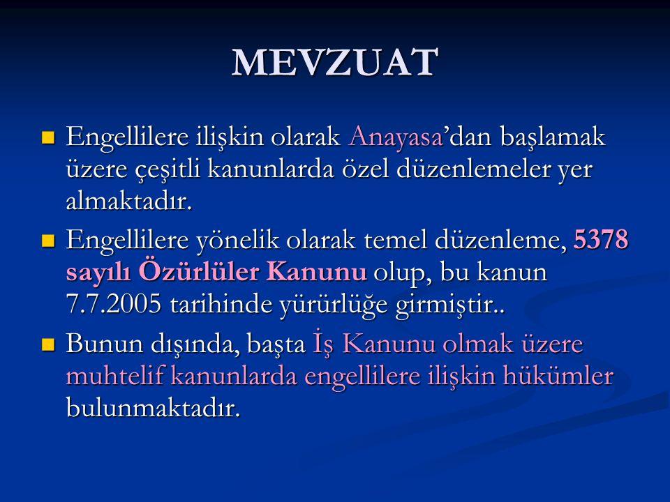 MEVZUAT Engellilere ilişkin olarak Anayasa'dan başlamak üzere çeşitli kanunlarda özel düzenlemeler yer almaktadır.