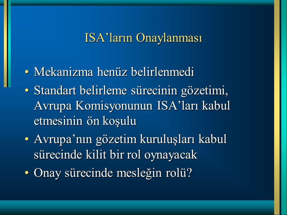 ISA'ların Onaylanması