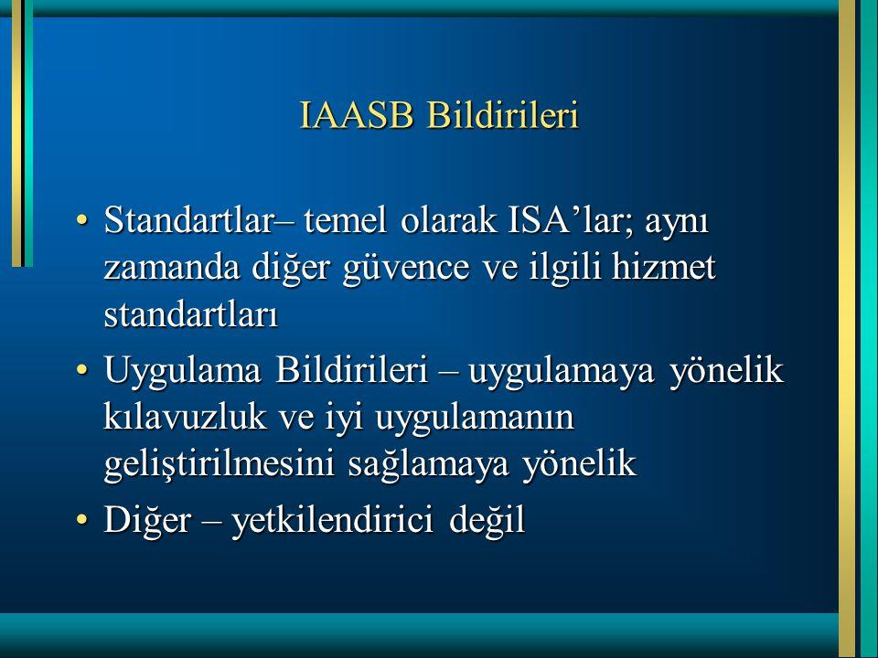 IAASB Bildirileri Standartlar– temel olarak ISA'lar; aynı zamanda diğer güvence ve ilgili hizmet standartları.