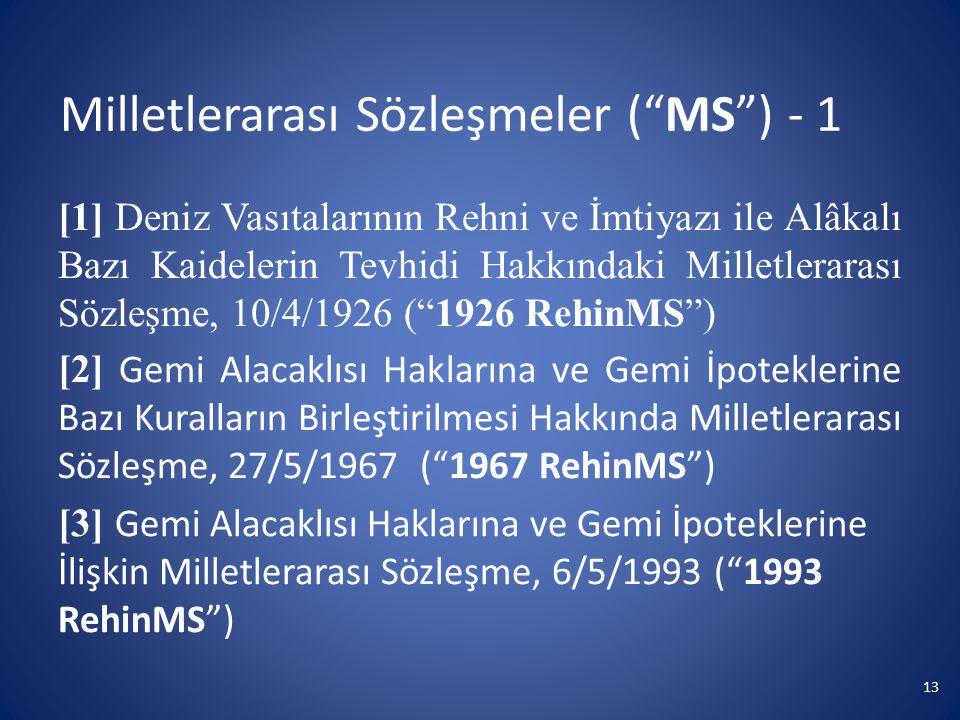 Milletlerarası Sözleşmeler ( MS ) - 1