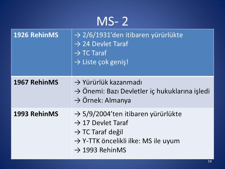 MS- 2 1926 RehinMS → 2/6/1931'den itibaren yürürlükte
