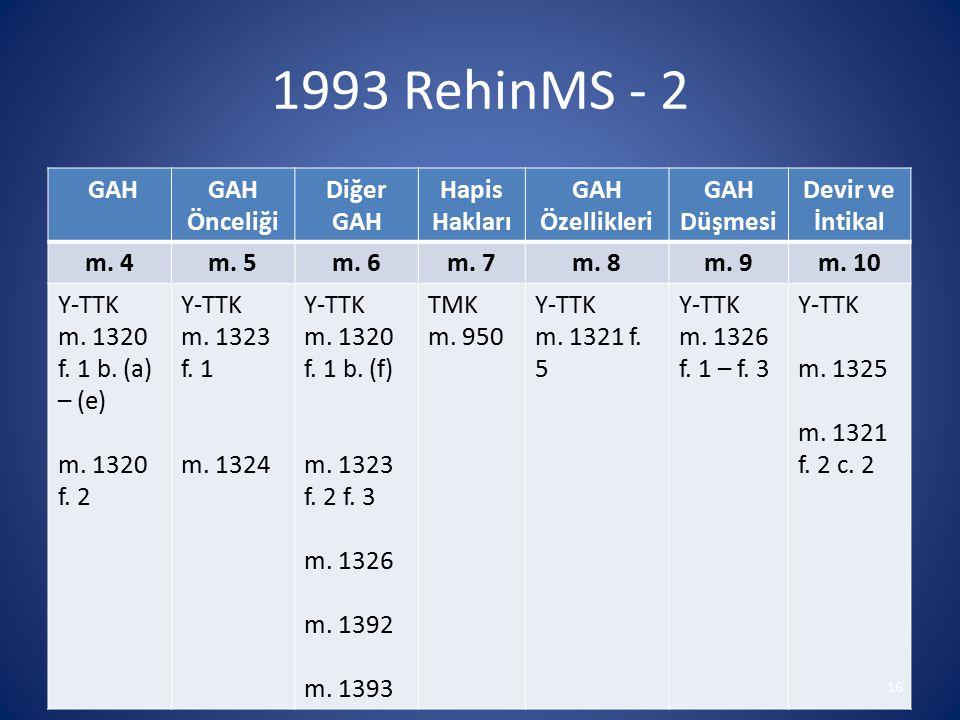1993 RehinMS - 2 GAH Önceliği Diğer Hapis Hakları Özellikleri Düşmesi