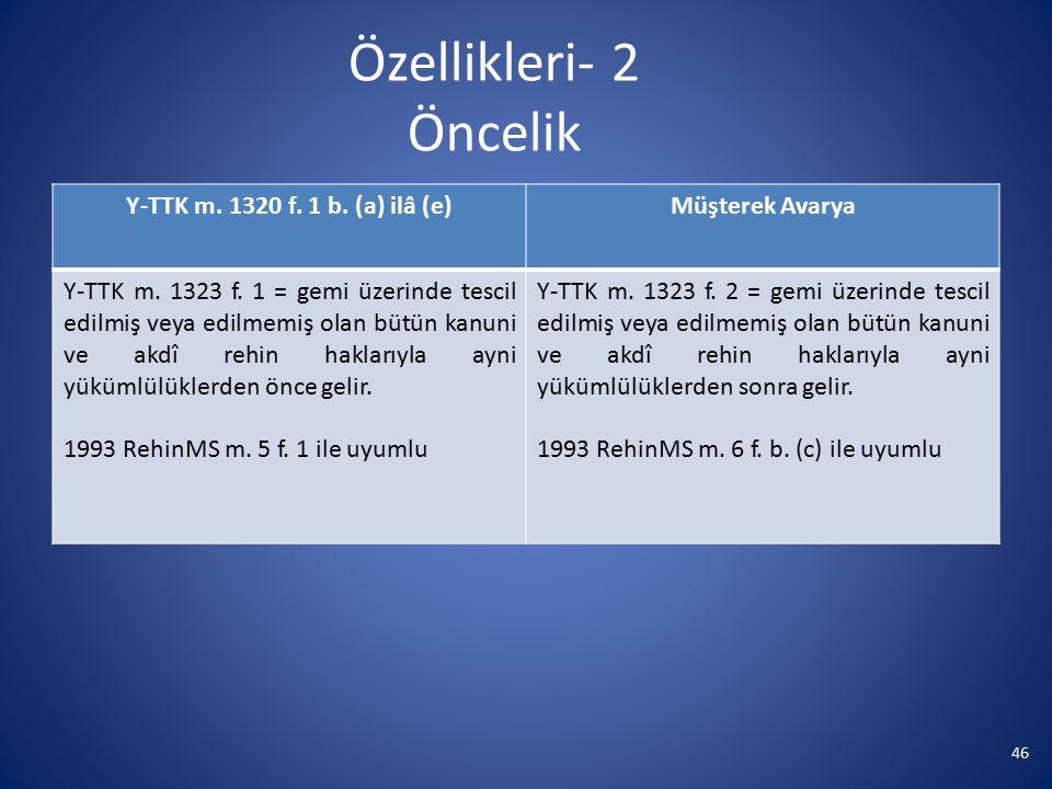 Özellikleri- 2 Öncelik Y-TTK m. 1320 f. 1 b. (a) ilâ (e)
