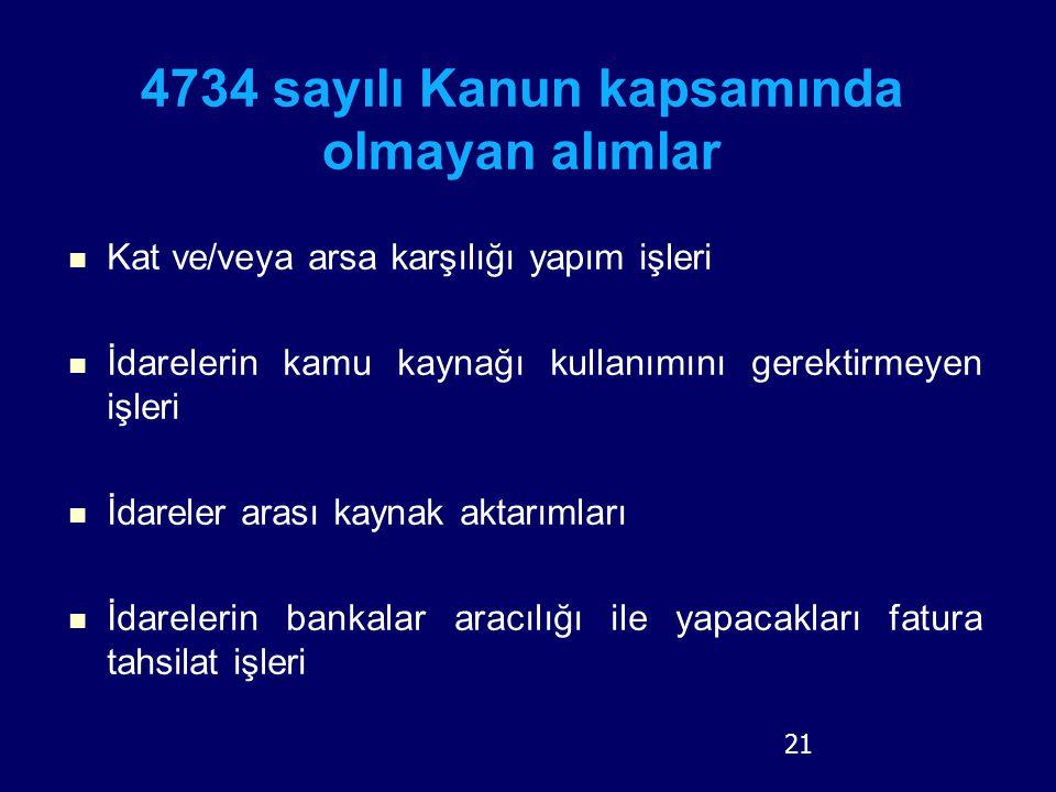4734 sayılı Kanun kapsamında olmayan alımlar