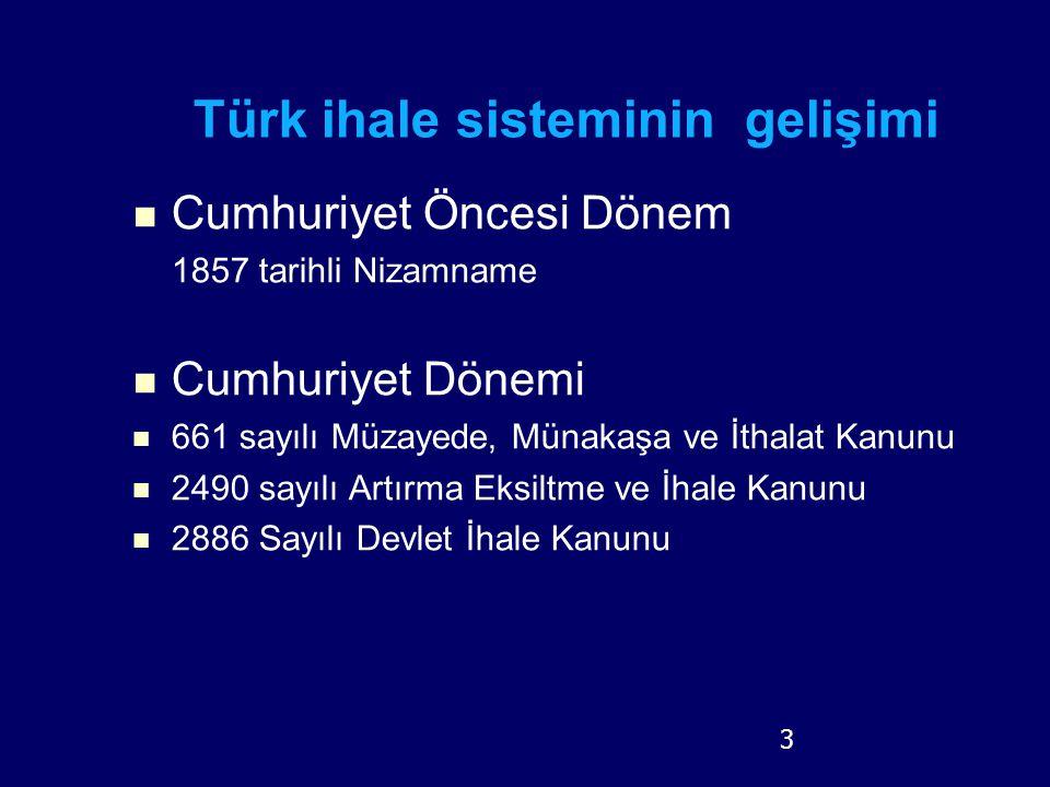 Türk ihale sisteminin gelişimi