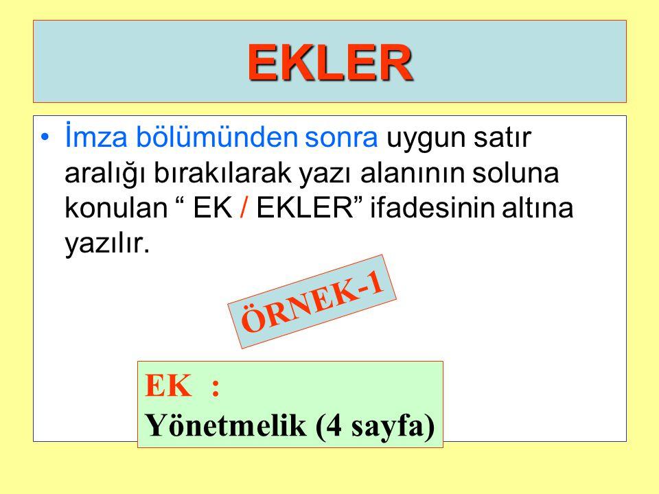 EKLER ÖRNEK-1 EK : Yönetmelik (4 sayfa)