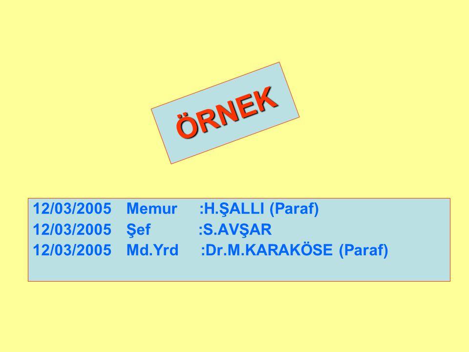 ÖRNEK 12/03/2005 Memur :H.ŞALLI (Paraf) 12/03/2005 Şef :S.AVŞAR