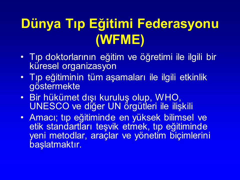 Dünya Tıp Eğitimi Federasyonu (WFME)