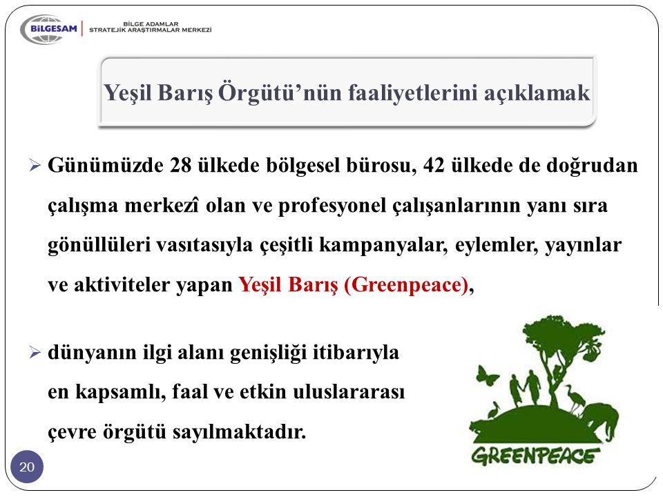 Yeşil Barış Örgütü'nün faaliyetlerini açıklamak
