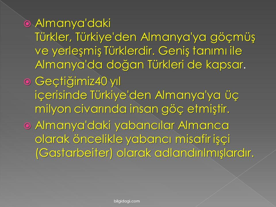 Almanya daki Türkler, Türkiye den Almanya ya göçmüş ve yerleşmiş Türklerdir. Geniş tanımı ile Almanya da doğan Türkleri de kapsar.