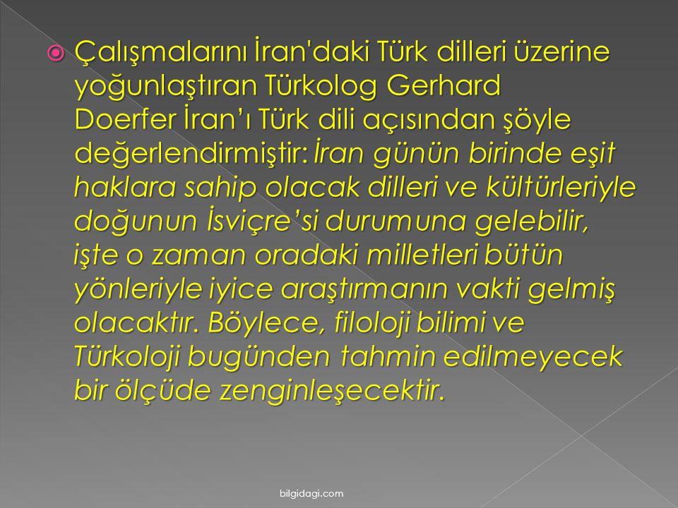 Çalışmalarını İran daki Türk dilleri üzerine yoğunlaştıran Türkolog Gerhard Doerfer İran'ı Türk dili açısından şöyle değerlendirmiştir: İran günün birinde eşit haklara sahip olacak dilleri ve kültürleriyle doğunun İsviçre'si durumuna gelebilir, işte o zaman oradaki milletleri bütün yönleriyle iyice araştırmanın vakti gelmiş olacaktır. Böylece, filoloji bilimi ve Türkoloji bugünden tahmin edilmeyecek bir ölçüde zenginleşecektir.