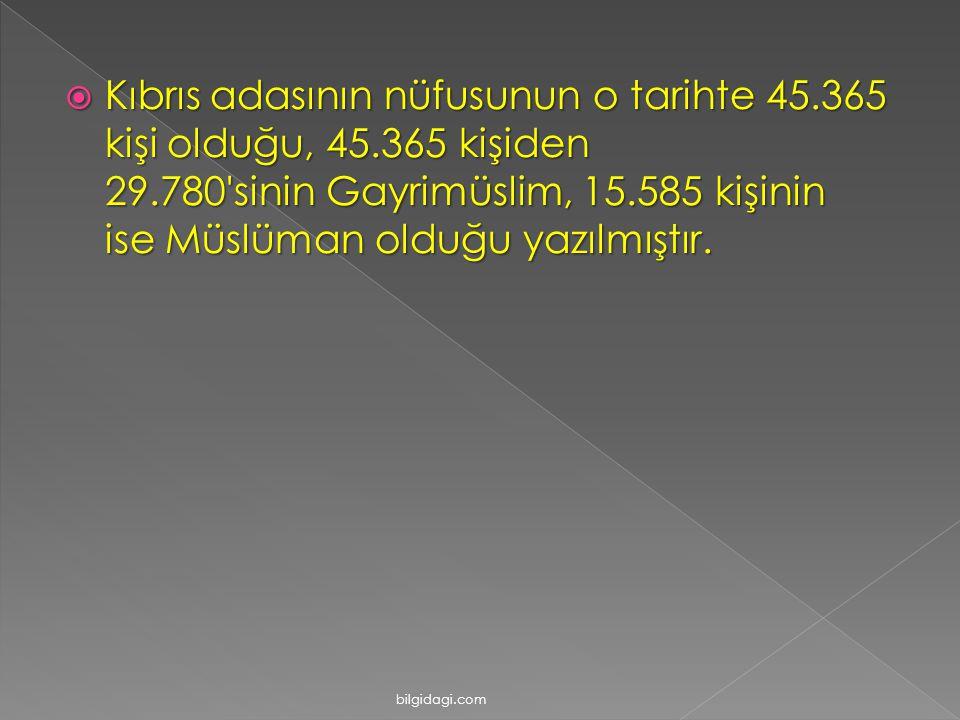 Kıbrıs adasının nüfusunun o tarihte 45. 365 kişi olduğu, 45