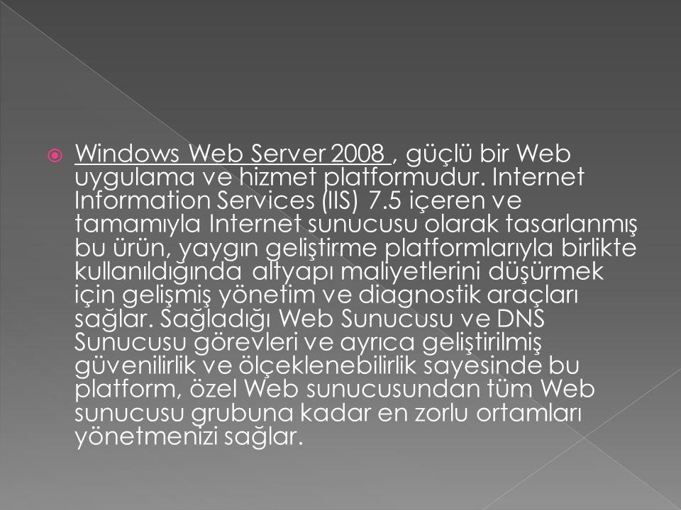 Windows Web Server 2008 , güçlü bir Web uygulama ve hizmet platformudur.