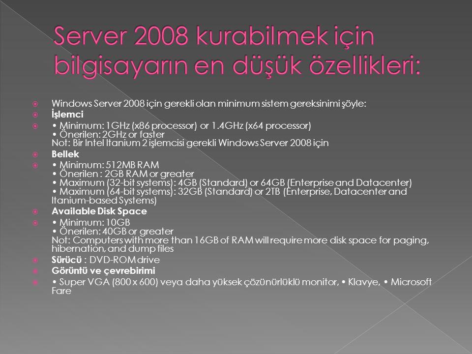 Server 2008 kurabilmek için bilgisayarın en düşük özellikleri: