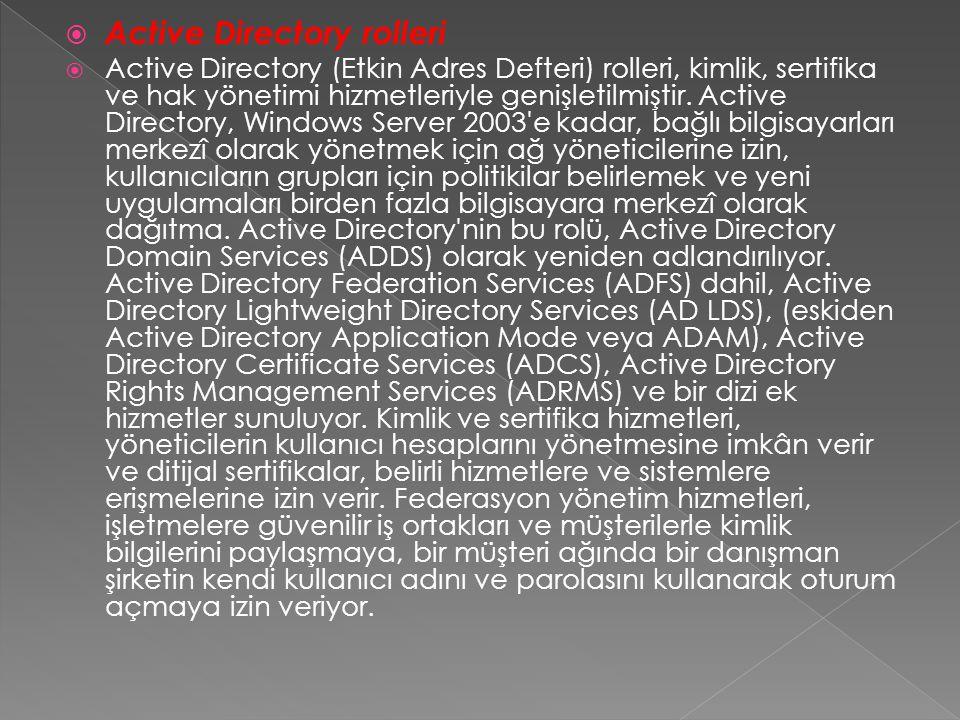 Active Directory rolleri