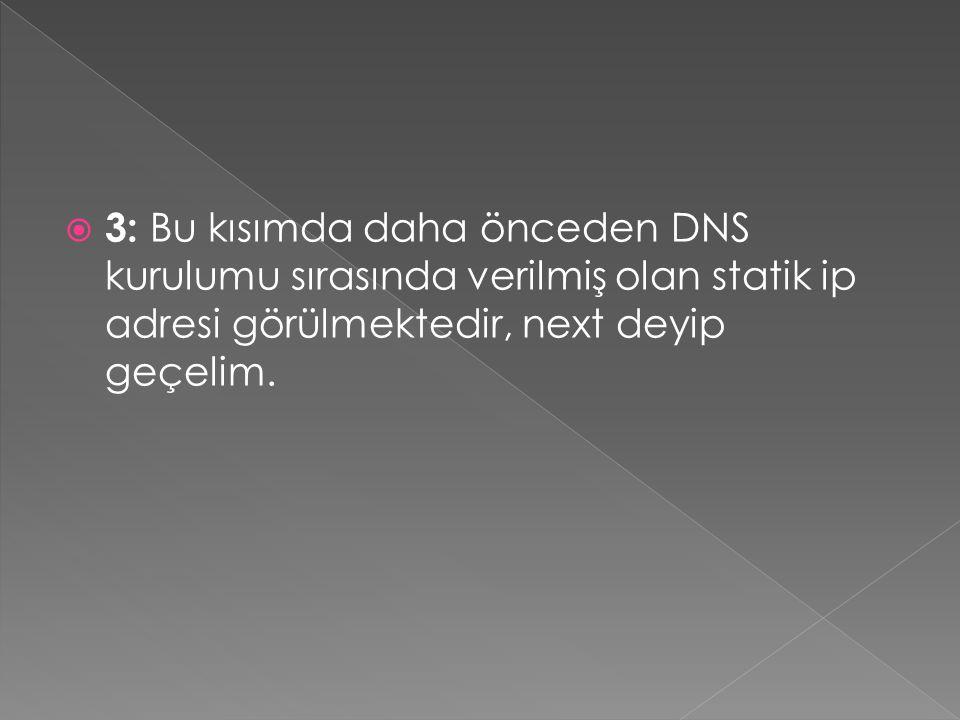 3: Bu kısımda daha önceden DNS kurulumu sırasında verilmiş olan statik ip adresi görülmektedir, next deyip geçelim.