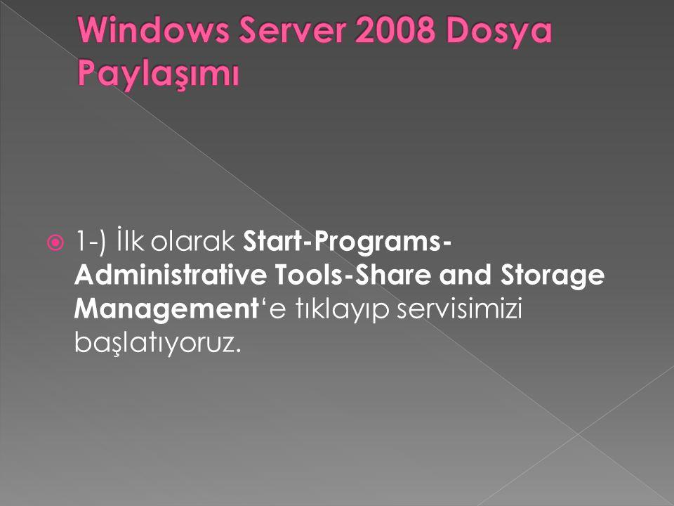 Windows Server 2008 Dosya Paylaşımı