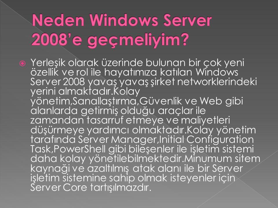 Neden Windows Server 2008'e geçmeliyim