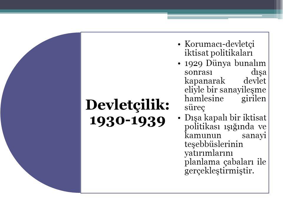 Devletçilik: 1930-1939 Korumacı-devletçi iktisat politikaları.