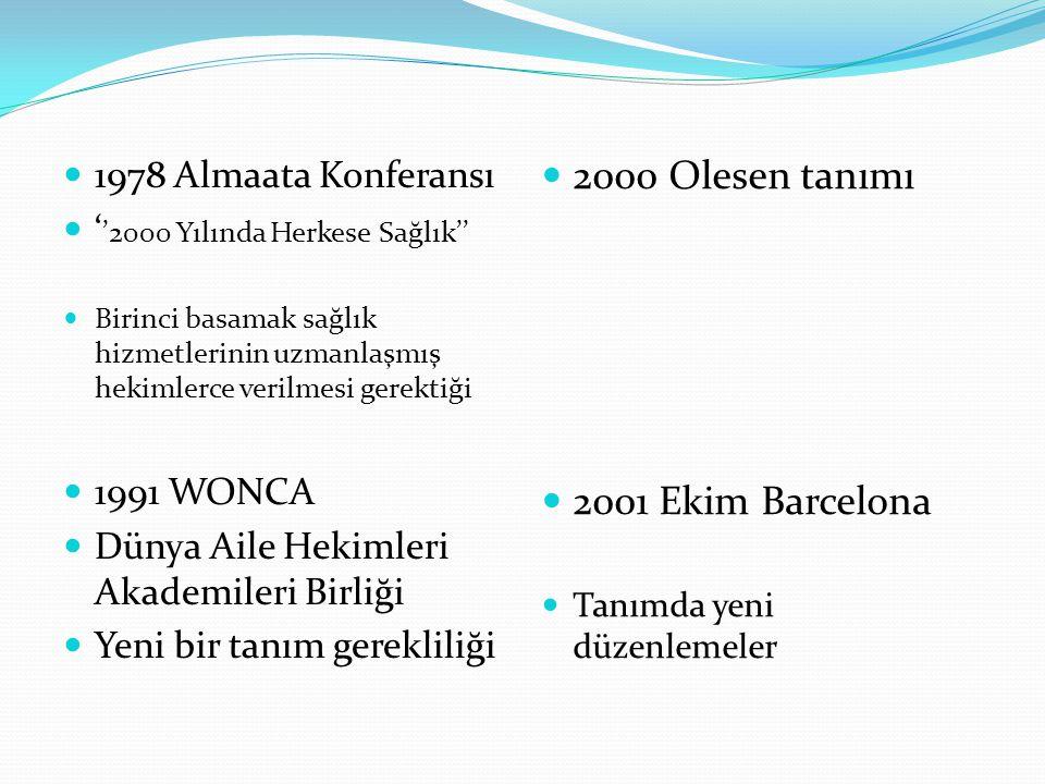 2000 Olesen tanımı 2001 Ekim Barcelona 1978 Almaata Konferansı