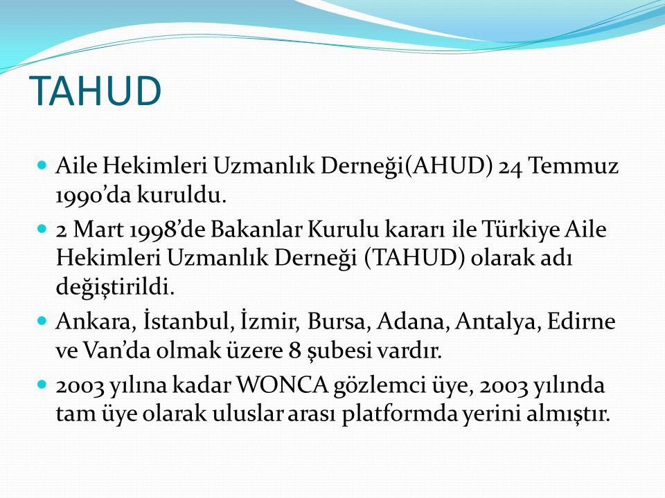 TAHUD Aile Hekimleri Uzmanlık Derneği(AHUD) 24 Temmuz 1990'da kuruldu.