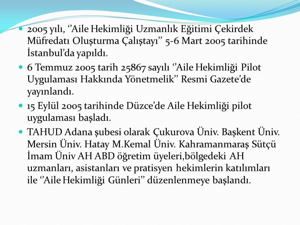 2005 yılı, ''Aile Hekimliği Uzmanlık Eğitimi Çekirdek Müfredatı Oluşturma Çalıştayı'' 5-6 Mart 2005 tarihinde İstanbul'da yapıldı.