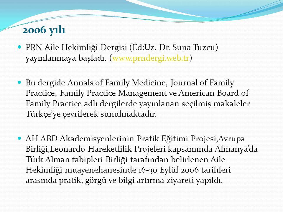 2006 yılı PRN Aile Hekimliği Dergisi (Ed:Uz. Dr. Suna Tuzcu) yayınlanmaya başladı. (www.prndergi.web.tr)