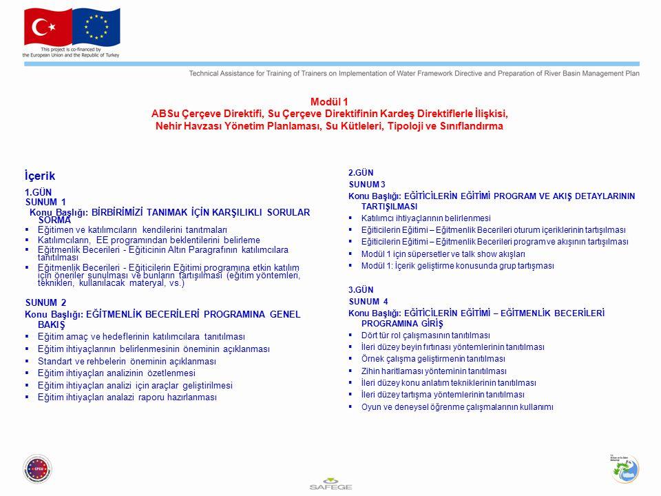Modül 1 ABSu Çerçeve Direktifi, Su Çerçeve Direktifinin Kardeş Direktiflerle İlişkisi, Nehir Havzası Yönetim Planlaması, Su Kütleleri, Tipoloji ve Sınıflandırma