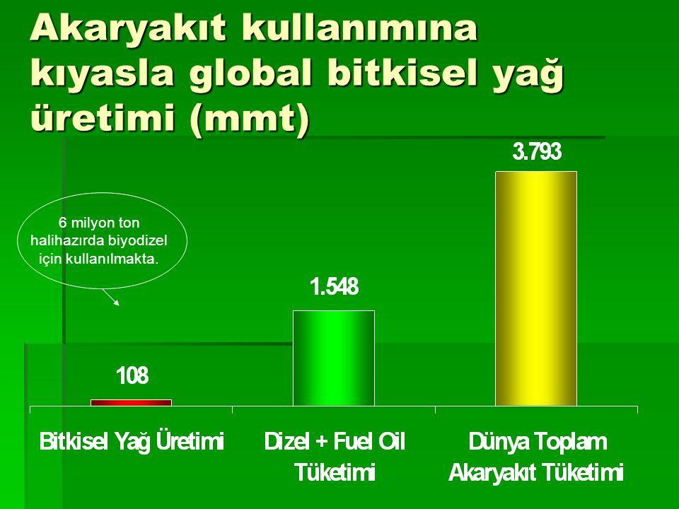 Akaryakıt kullanımına kıyasla global bitkisel yağ üretimi (mmt)