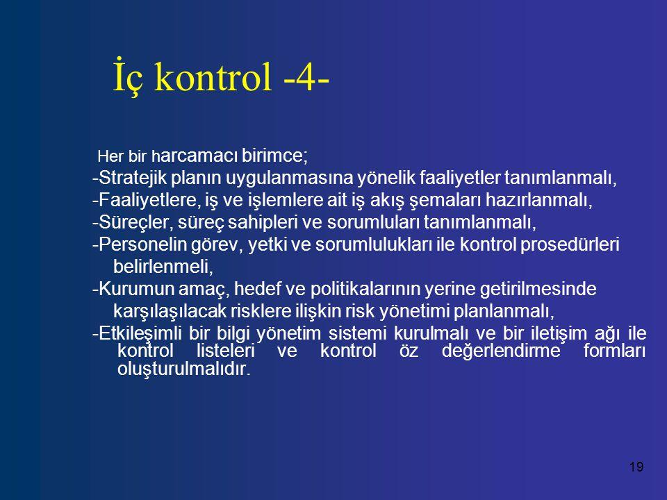 İç kontrol -4- Her bir harcamacı birimce; -Stratejik planın uygulanmasına yönelik faaliyetler tanımlanmalı,