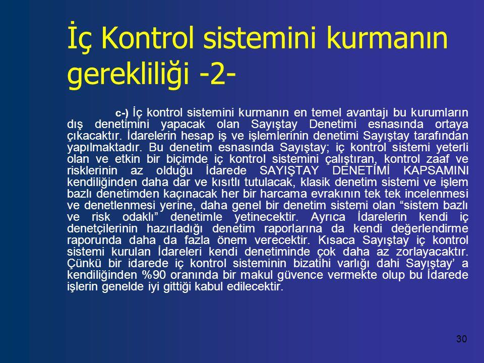 İç Kontrol sistemini kurmanın gerekliliği -2-