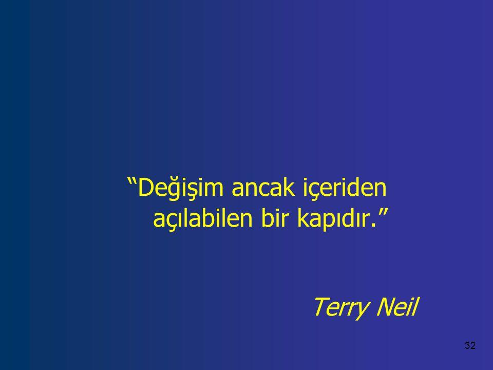 Değişim ancak içeriden açılabilen bir kapıdır. Terry Neil