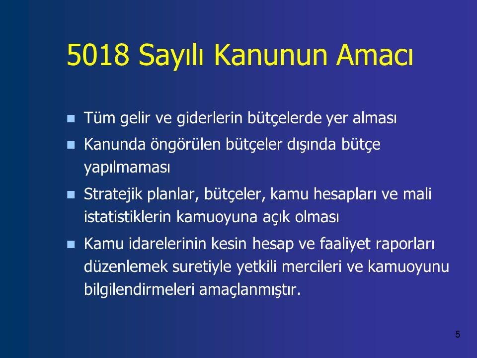 5018 Sayılı Kanunun Amacı Tüm gelir ve giderlerin bütçelerde yer alması. Kanunda öngörülen bütçeler dışında bütçe yapılmaması.