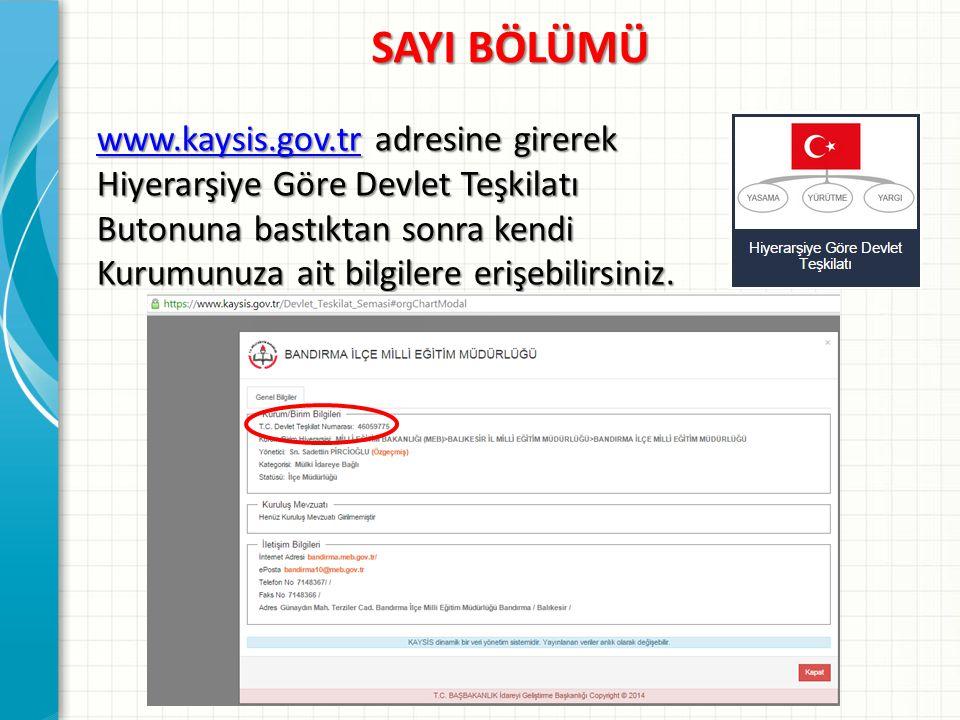 SAYI BÖLÜMÜ www.kaysis.gov.tr adresine girerek