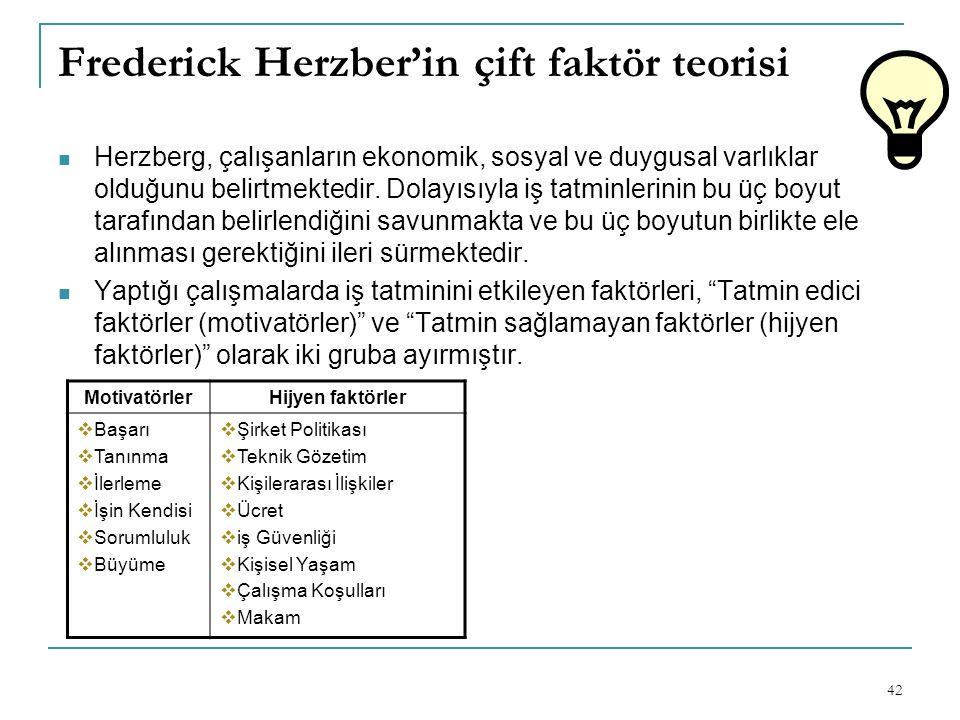 Frederick Herzber'in çift faktör teorisi