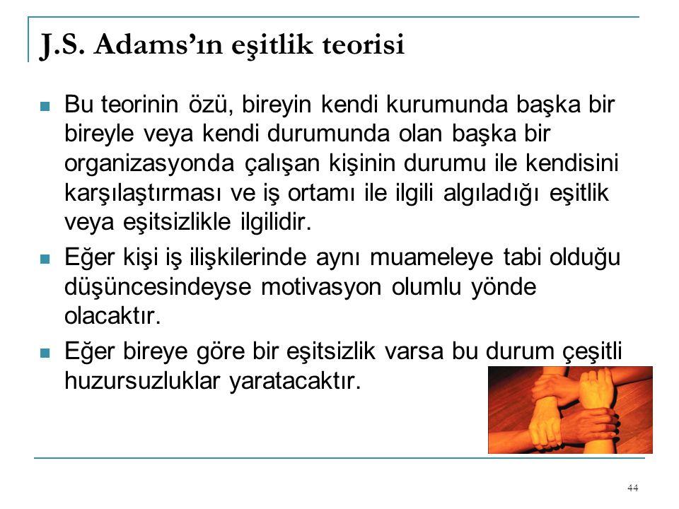 J.S. Adams'ın eşitlik teorisi