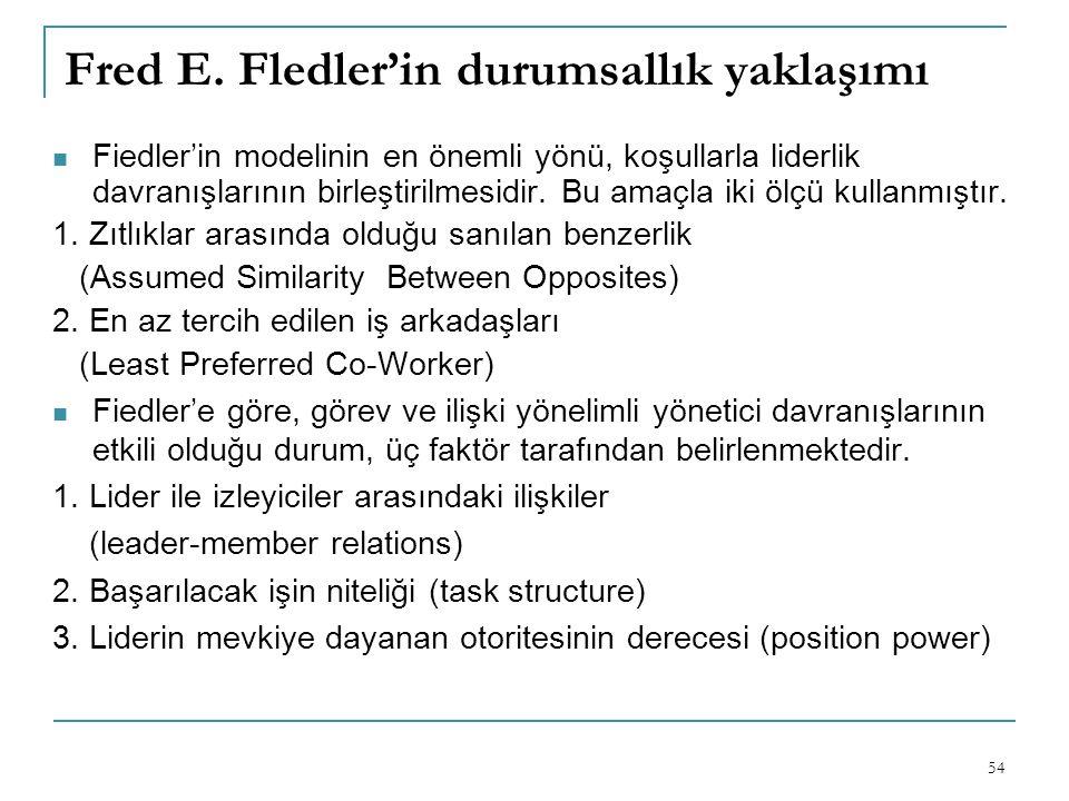 Fred E. Fledler'in durumsallık yaklaşımı