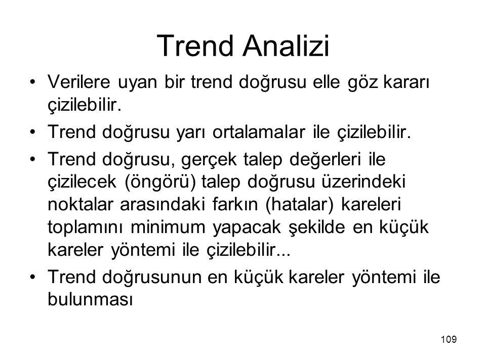Trend Analizi Verilere uyan bir trend doğrusu elle göz kararı çizilebilir. Trend doğrusu yarı ortalamalar ile çizilebilir.