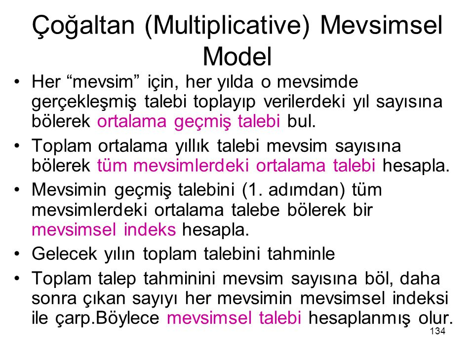 Çoğaltan (Multiplicative) Mevsimsel Model