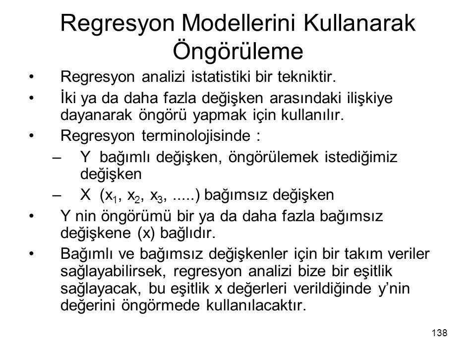 Regresyon Modellerini Kullanarak Öngörüleme