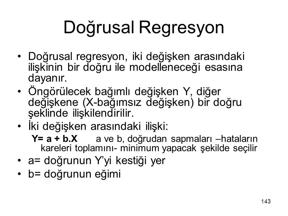 Doğrusal Regresyon Doğrusal regresyon, iki değişken arasındaki ilişkinin bir doğru ile modelleneceği esasına dayanır.